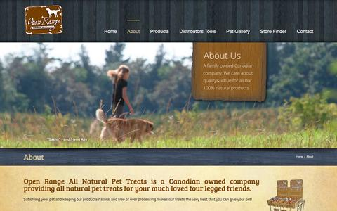 Screenshot of About Page openrangepettreats.com - Open Range Pet Treats -   About - captured March 16, 2016