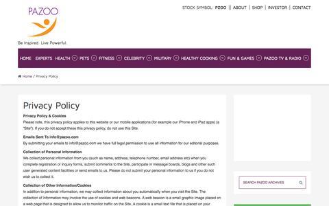 Screenshot of Privacy Page pazoo.com - Privacy Policy - Pazoo.com - captured Nov. 1, 2014
