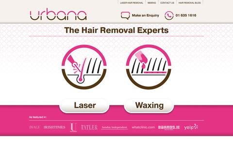 Screenshot of Home Page urbana.ie - Laser Hair Removal Dublin - captured Oct. 9, 2014