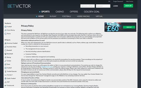 Screenshot of Privacy Page betvictor.com - Sports - Privacy Policy - BetVictor - captured Dec. 25, 2016