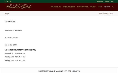 Screenshot of Hours Page chocolatefetish.com - Hours - The Chocolate Fetish - captured April 24, 2017