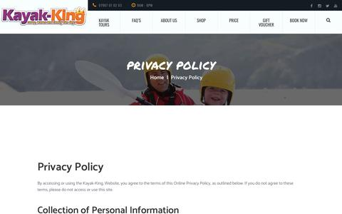 Screenshot of Privacy Page kayak-king.com - Privacy policy for customers of Kayak-King Tours in Wales. - captured Nov. 6, 2018