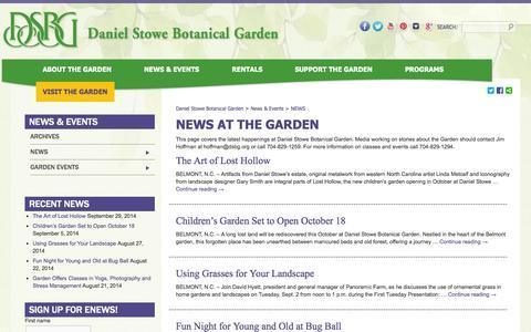 Screenshot of Press Page dsbg.org - News | Daniel Stowe Botanical Garden - captured Oct. 5, 2014