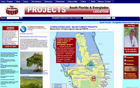 Screenshot of Locations Page evergladeshub.com - PROJECT MAPS: The Everglades-HUB - captured March 10, 2016