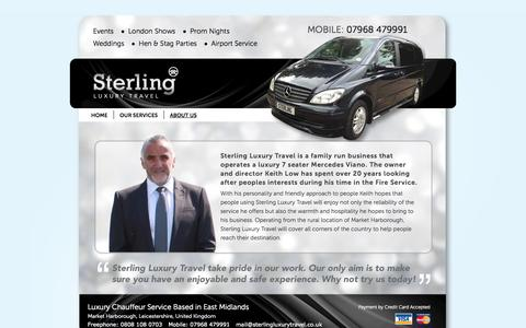 Screenshot of About Page sterlingluxurytravel.co.uk - East Midlands - Chauffeur Market Harborough - captured Oct. 7, 2014