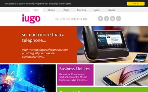 Screenshot of Home Page iugo.co.uk - Home | iugo - Your trusted single telecoms partner - captured Feb. 11, 2016