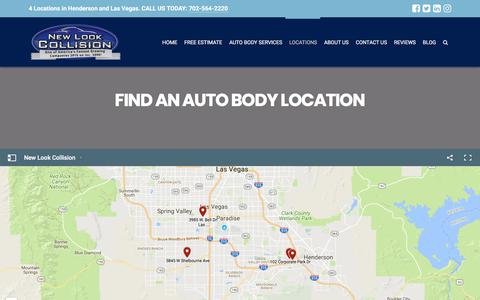 Screenshot of Locations Page newlookcollision.com - Find a New Look Collision Auto Body Shop Near You - captured Jan. 19, 2018
