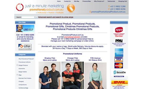 Screenshot of Home Page promotionalproduct.com.au - Promotional Product: Christmas Promotional Products, Promotional Gift, Promotional Campaigns - captured June 22, 2015