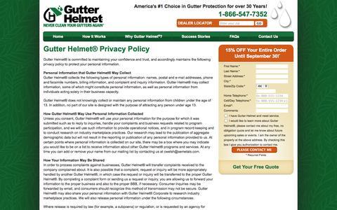 Screenshot of Privacy Page gutterhelmet.com - Privacy Policy   Gutter Helmet - captured Sept. 30, 2014