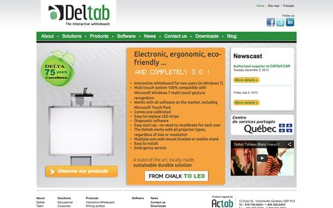 Screenshot of Home Page deltab.ca - Deltab Interactive Whiteboard - The ultimate interactive white board - captured Oct. 4, 2014