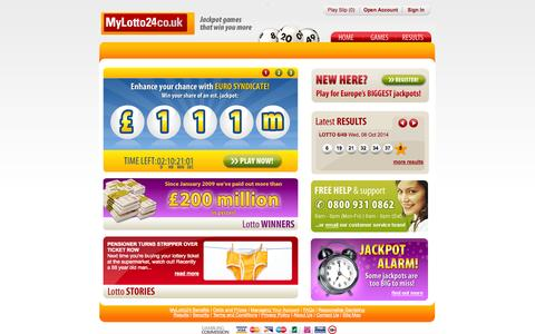 Screenshot of mylotto24.co.uk - Play online lottery games, every day | MyLotto24 - captured Oct. 12, 2014