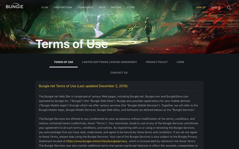 Screenshot of Terms Page bungie.net - Terms of Use | Bungie.net - captured Aug. 4, 2018