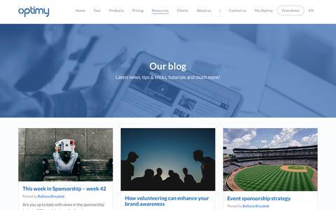 Screenshot of Blog optimy.com - Blog - Grant Software - Sponsorship Software - Partnership Software | Optimy - captured Oct. 22, 2017