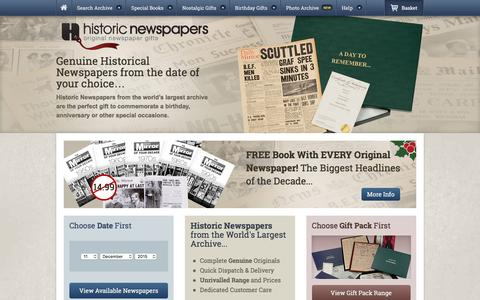 Screenshot of Home Page historic-newspapers.co.uk - Historic Newspapers - The World's Largest Archive - Historic Newspapers - captured Dec. 10, 2015