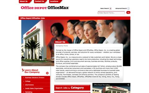 Screenshot of Jobs Page officedepot.com - Retail Jobs | Warehouse and Operations Careers at Office Depot - captured Oct. 28, 2014