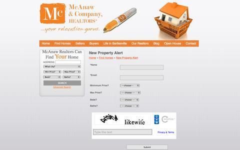 Screenshot of Signup Page mcanawrealtors.com - McAnaw & Company Realtors - Bartlesville, Oklahoma Real Estate | New Property Alert - captured Oct. 27, 2014