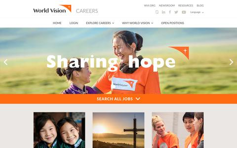 Screenshot of Jobs Page wvi.org - World Vision Careers | World Vision - captured Sept. 12, 2018