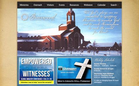 Screenshot of Home Page briarwood.org - Briarwood Presbyterian Church, PCA: worshipping, equipping, reaching - captured Feb. 8, 2016