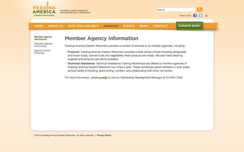 Screenshot of Services Page feedingamericawi.org - Member Agency Information | Feeding America Eastern Wisconsin - captured Oct. 5, 2014