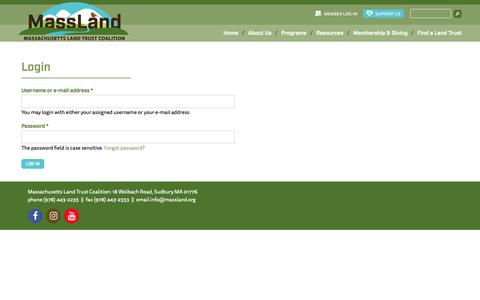 Screenshot of Login Page massland.org - Member Area | MassLand - captured Oct. 1, 2018