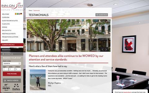 Screenshot of Testimonials Page innonfifth.com - Testimonials   Inn on 5th - captured Oct. 20, 2018