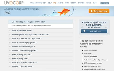 Screenshot of FAQ Page uvocorp.com - Frequently asked questions about freelance job for retired, students, teachers and freelance writers - captured Sept. 24, 2014