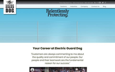 Screenshot of Jobs Page electricguarddog.com - Electric Guard Dog Jobs - captured Feb. 13, 2019
