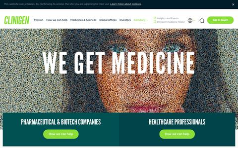 Screenshot of Home Page clinigengroup.com - Clinigen – speciality pharmaceuticals and clinical trial services | Clinigen - captured July 19, 2018