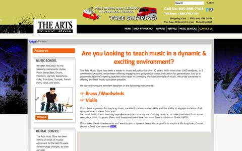 Screenshot of Jobs Page theartsmusicstore.com - Careers at The Arts Music Store - captured Oct. 7, 2014