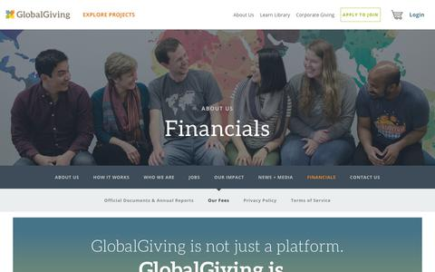 Screenshot of Pricing Page globalgiving.org - Our Fees - GlobalGiving - captured Oct. 25, 2017