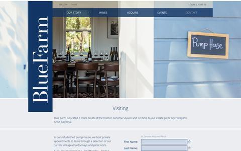 Screenshot of Contact Page bluefarmwines.com - Visiting - Blue Farm Wines - captured June 1, 2017
