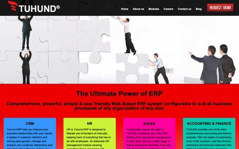Screenshot of Home Page tuhund.com - ERP Solution - Enterprise Resource Planning - TUHUND ERP - captured Nov. 15, 2018