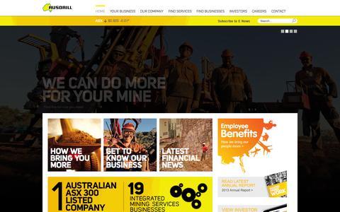 Screenshot of Home Page ausdrill.com.au - Home : Ausdrill - captured Sept. 30, 2014