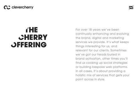 Screenshot of Services Page clevercherry.com - Clevercherry | Services - We specialise in Brand, Digital & Marketing - captured Oct. 26, 2018