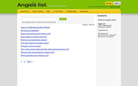 Screenshot of FAQ Page angieslist.com - Find Answers - captured Sept. 11, 2014