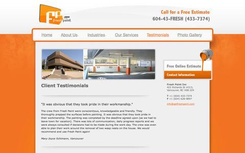 Screenshot of Testimonials Page getfreshpaint.com - Painting Testimonials Vancouver - captured Oct. 1, 2014