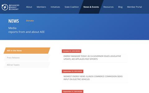 Screenshot of Press Page aee.net - AEE    News - Media reports on industry progress, as well as news from and about AEE - captured Oct. 3, 2018