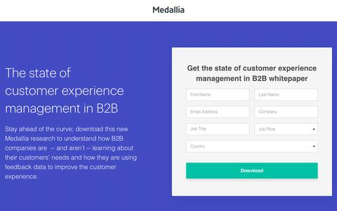Screenshot of Landing Page medallia.com - The State of CX in B2B | Medallia - captured Aug. 16, 2019