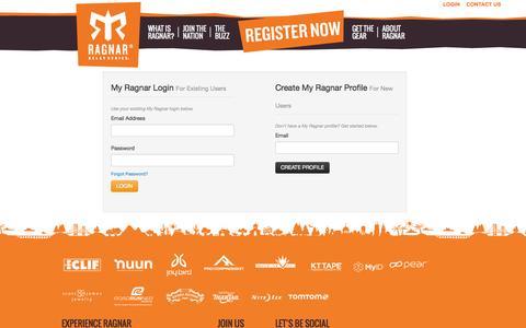 Screenshot of Login Page ragnarrelay.com - My Ragnar - captured Sept. 24, 2014