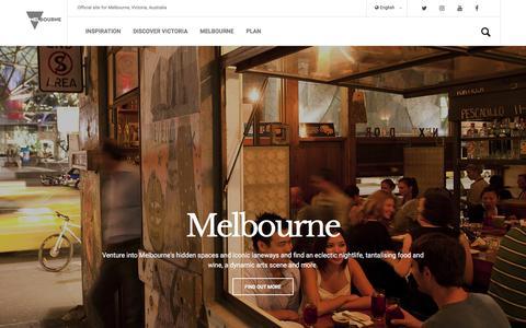 Screenshot of Home Page visitmelbourne.com - Melbourne, Victoria, Australia - visitvictoria.com The official travel and accommodation site for Melbourne, Victoria, Australia - captured Sept. 22, 2018