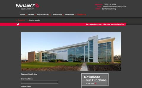 Screenshot of Contact Page enhanceconsultancy.com - Contact Us | Enhance Consultancy - captured Oct. 3, 2014
