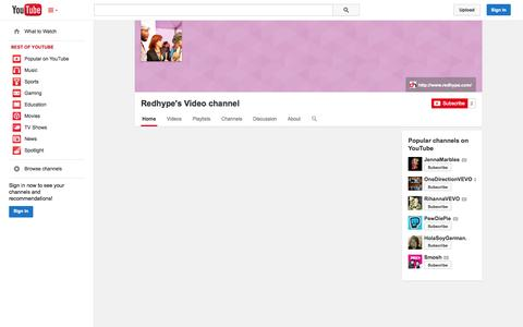 Screenshot of YouTube Page youtube.com - Redhype's Video channel  - YouTube - captured Oct. 26, 2014