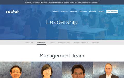 Screenshot of Team Page netbraintech.com - Meet the Leadership   NetBrain - captured Sept. 20, 2018