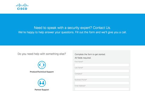 Screenshot of Contact Page cisco.com captured July 12, 2018