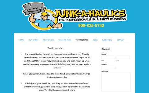 Screenshot of Testimonials Page junkahaulics.com - Testimonials | Junk-A-Haulics - captured Sept. 30, 2014