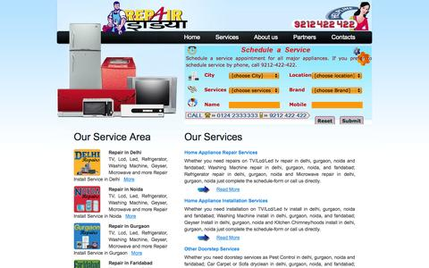 Screenshot of Services Page repairindia.in - Repairing, Installation and Services in Gurgaon, Noida, Delhi - captured Oct. 7, 2014