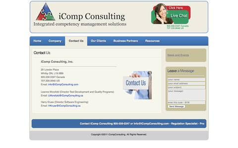 Screenshot of Contact Page icompconsulting.com - Contact Us - captured Feb. 11, 2016