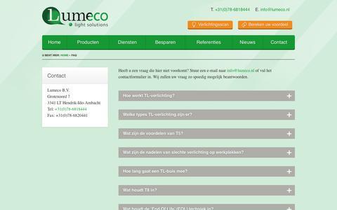 Screenshot of FAQ Page lumeco.nl - FAQ   Lumeco B.V. - captured Sept. 30, 2014