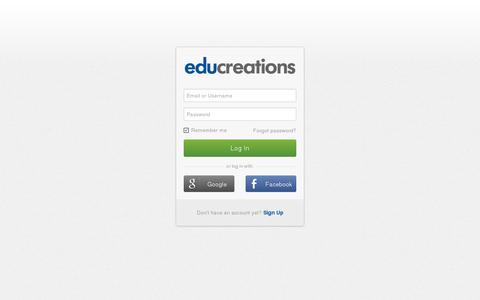 Screenshot of Login Page educreations.com - Log In - captured July 19, 2014