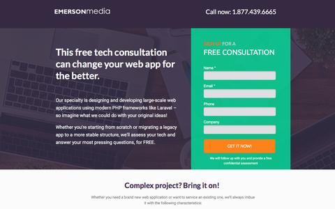 Screenshot of Landing Page emersonmedia.com - Free Tech Consultation - captured April 27, 2016